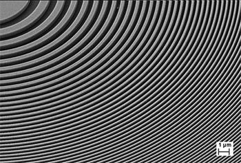 500nm厚的金薄膜上制备X射线大面积波带片结构图1